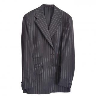 Versace black wool pinstripe suit