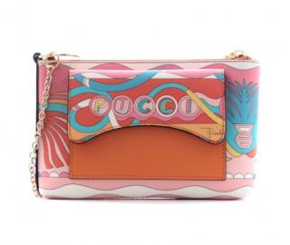 Emilio Pucci multicoloured patterned saffiano leather clutch