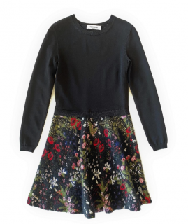 Valentino Black Jersey Floral Mix Dress