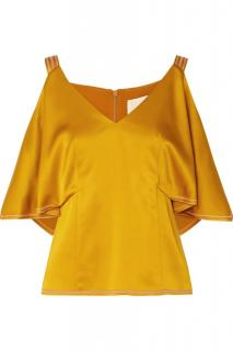 Peter Pilotto cold shoulder gold satin top