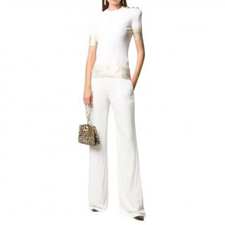 Balmain white & gold button detail short sleeve top