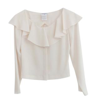Chanel vintage ivory frill open back blouse