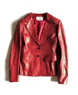 Yves Saint Laurent red leather blazer jacket