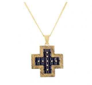 Bespoke Yellow Gold Sapphire Pendant Necklace