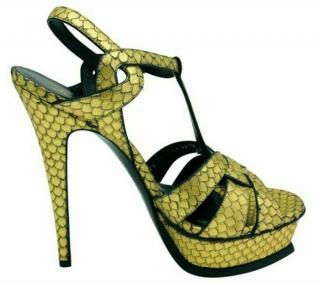 Saint Laurent Tribute python gold high heeled sandals