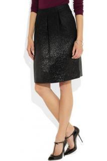 Fendi black ombre-effect metallic a-line skirt