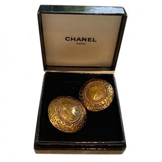 Chanel Vintage gold-tone clip-on earrings