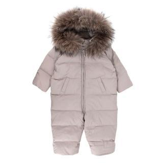 Bonpoint Fur Trimmed Grey Kids Ski Suit