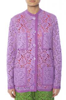 Gucci purple floral lace button-up cardigan