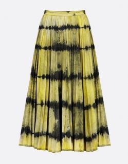 Dior yellow die dye pleated midi skirt