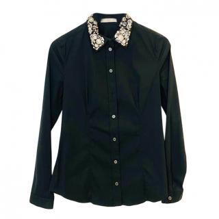 Prada embellished collar black cotton-blend shirt