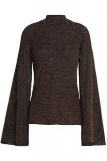 Pringle bronze metallic fine stretch-knit sweater