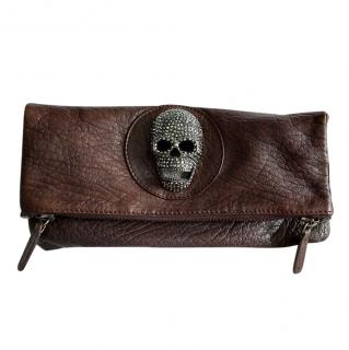 Thomas Wylde Barolo Skull brown leather clutch bag