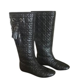Christian Dior Cannage Quilted black lambskin leather knee-high boots