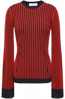 Pringle red merino wool ribbed knit sweater
