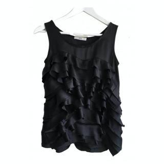 Prada black sleeveless silk ruffled blouse