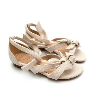 Alexandre Birman Cream Cotton Sandals