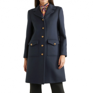 Gucci Navy Embellished Wool-Felt Coat