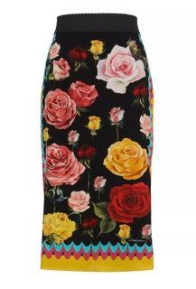 Dolce & Gabbana Rose Print Fitted Midi Skirt
