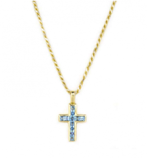 Bespoke Blue Topaz Cross Pendant in Yellow Gold