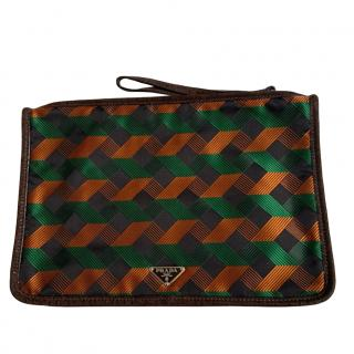Prada limited edition Holiliday & Brown patterned clutch bag