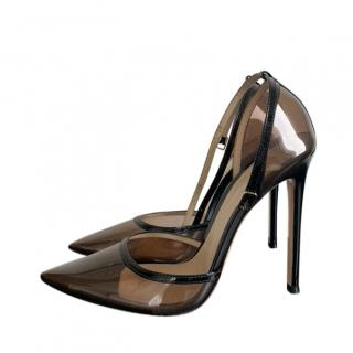 Gianvito Rossi black leather & brown plexi ankle-strap pumps