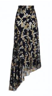 Peter Pilotto black metallic fil coupe asymmetric skirt