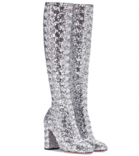 Dolce & Gabbana Runway Silver Sequin Stretch Sock Boots