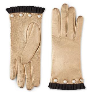 Gucci Leather Gold Grosgrain Trim Embellished Gloves