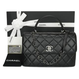 Chanel Black Leather Trendy CC Top Handle Flap Bag