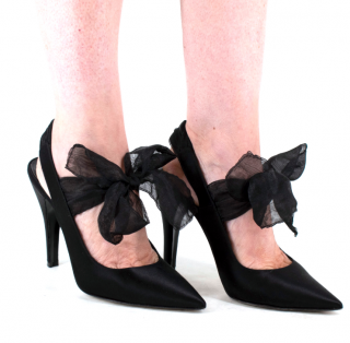 Loewe Black Satin Slingback Sandals with Chiffon Tie Detail
