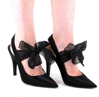 Loewe Black Satin Slingback Sandals with Chiffon Tie Detail