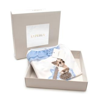 La Perla Soft Cotton Kids Pyjamas with Puppy Print and Blue Shorts