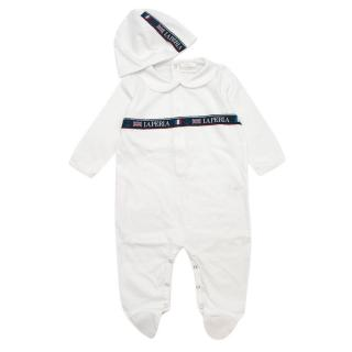 La Perla White Embroidered Soft Cotton Baby Grow and Hat Gift Box