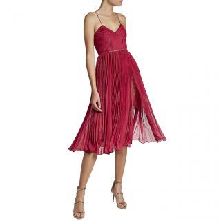 Self Portrait pink pleated chiffon midi dress