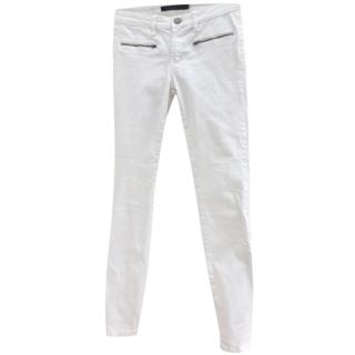 Victoria Beckham ankle zip white skinny jeans