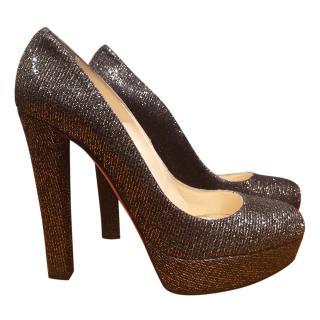 Christian Louboutin Bibi 140 Black Glitter lady pumps