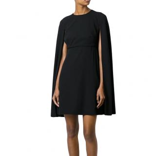 Valentino black wool cape dress