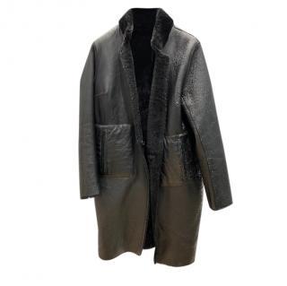 Hugenberg black shearling & leather reversible coat
