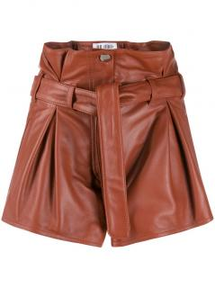 The Attico brown lamb leather pleated shorts