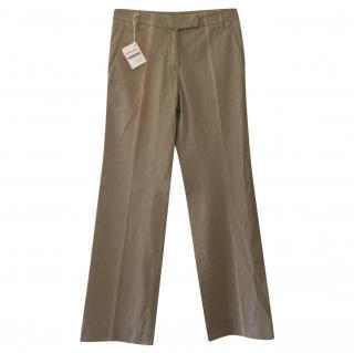 Brunello Cucinelli mid-rise worn effect khaki cotton chinos