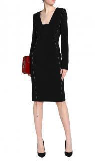Antonio Berardi cord detail black knee-length pencil dress