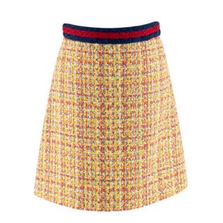 Gucci Crystal Tweed Yellow Skirt