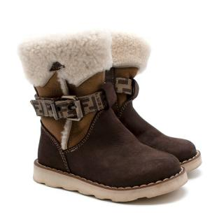 Fendi Kids Brown Suede Shearling Trimmed Biker Boots