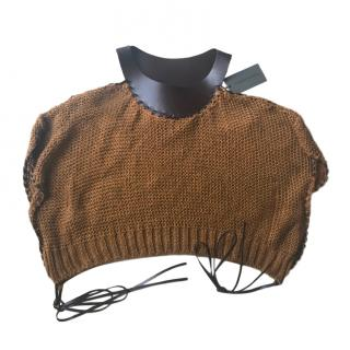 Alberta Ferretti off-shoulder brown knitted top