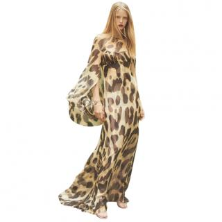 Julie de Libran Silk Cape Sleeve Leopard Print Silk Gown