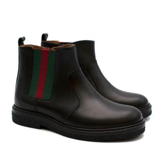 Gucci Kids Webstripe Black Chelsea Boots