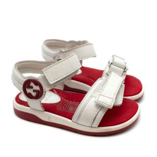 Gucci Kids White Leather Sandals