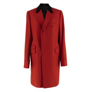 Gucci Mens Red & Black Wool Coat