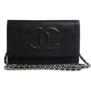 Chanel Black Caviar Leather CC Wallet On Chain